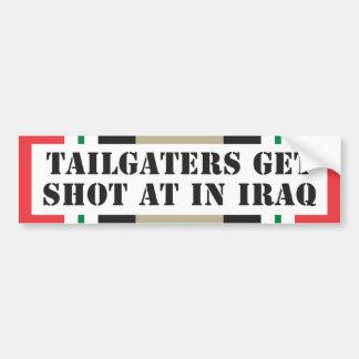 Tailgaters get shot at in Iraq Bumper Sticker