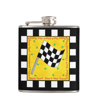 Tailgating Race Checkered Flag Name Personalized Flask