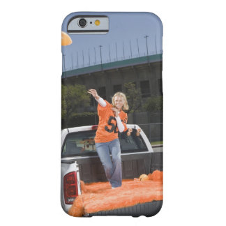 Tailgating woman throwing football barely there iPhone 6 case