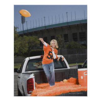 Tailgating woman throwing football print