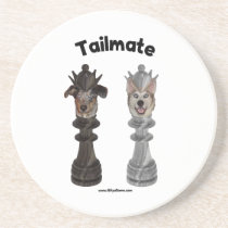 Tailmate Chess Queen Dogs Drink Coasters