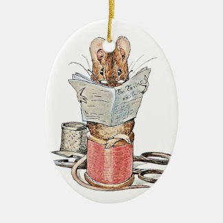 Tailor Mouse on Spool of Thread Ceramic Ornament