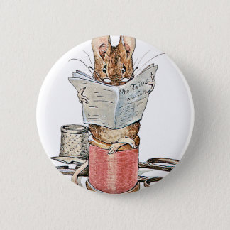 Tailor Mouse on Spool of Thread Pinback Button