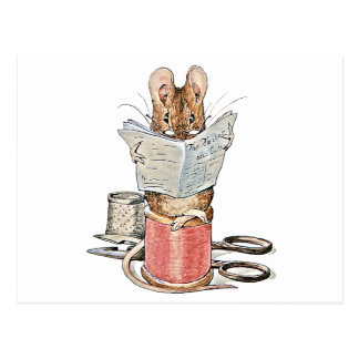 Tailor Mouse on Spool of Thread Postcard