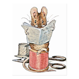 Tailor Mouse on Spool of Thread Postcard