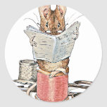 Tailor Mouse on Spool of Thread Classic Round Sticker