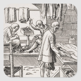 Tailor, reproduction of a woodcut stickers