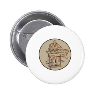 Tailor Upholsterer Sewing Machine Drawing Button