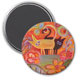 Tails and Cats 3 Inch Round Magnet