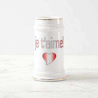 ¡T'aime de Je! Colores de la bandera de Canadá Jarra De Cerveza