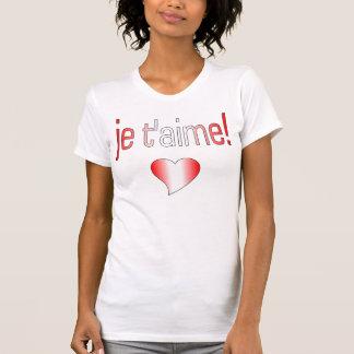¡T'aime de Je! Colores de la bandera de Canadá Remera