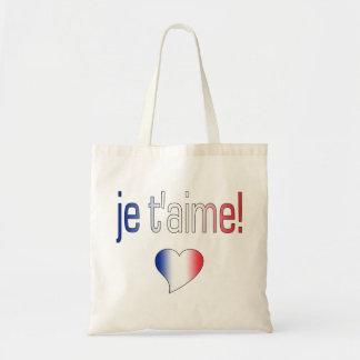 ¡T'aime de Je! Colores franceses de la bandera Bolsa Tela Barata