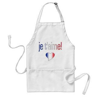 ¡T'aime de Je! Colores franceses de la bandera Delantal