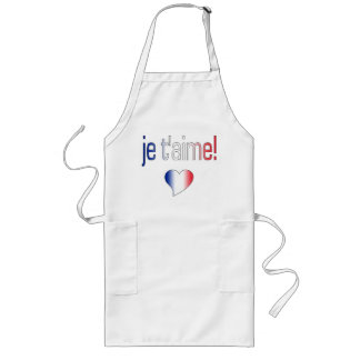 ¡T'aime de Je! Colores franceses de la bandera Delantal Largo