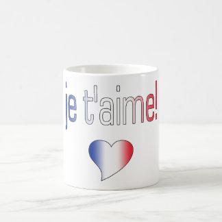 ¡T'aime de Je! Colores franceses de la bandera Taza