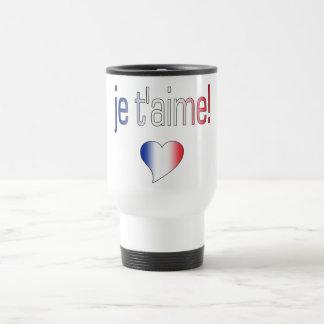¡T'aime de Je! Colores franceses de la bandera Taza Térmica