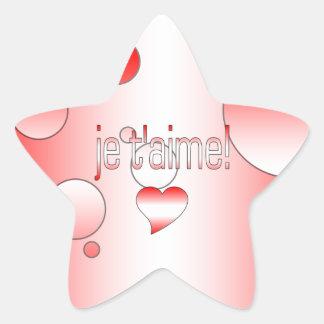 ¡T'aime de Je! La bandera de Canadá colorea arte Pegatina En Forma De Estrella