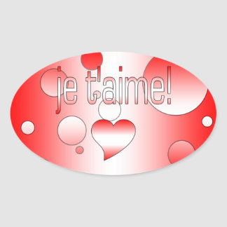 ¡T'aime de Je! La bandera de Canadá colorea arte Pegatina Ovalada