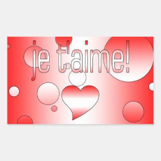 ¡T'aime de Je! La bandera de Canadá colorea arte Pegatina Rectangular
