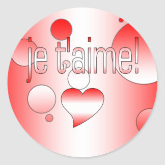 ¡T'aime de Je! La bandera de Canadá colorea arte Pegatina Redonda