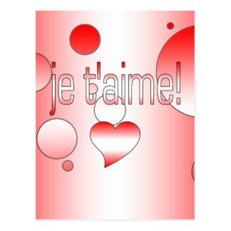¡T'aime de Je! La bandera de Canadá colorea arte Tarjetas Postales