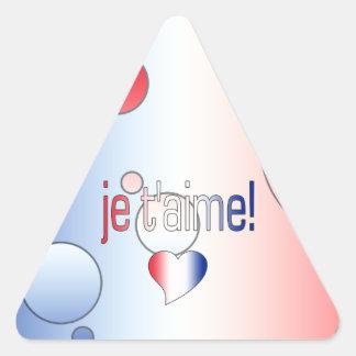 ¡T'aime de Je! La bandera francesa colorea arte Pegatina Triangular