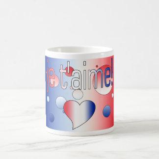 ¡T'aime de Je! La bandera francesa colorea arte Taza Clásica