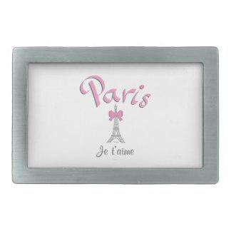 T'aime de París - de Je (te amo) Hebilla De Cinturon Rectangular