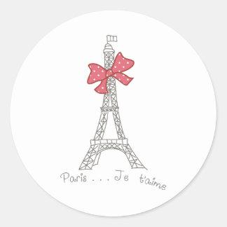 T'aime de París… Je Pegatina Redonda