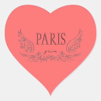 T'aime de PARÍS Je (te quiero) Pegatina En Forma De Corazón