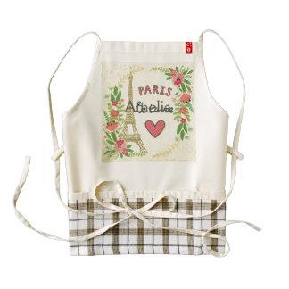 t'aime del je, París, vintage, eiffeltower, Delantal Zazzle HEART