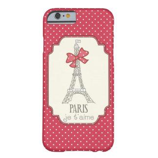 T'aime rojo de París Je de los lunares Funda De iPhone 6 Barely There