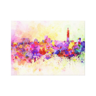 Taipei skyline in watercolor background canvas print