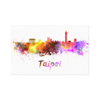 Taipei skyline in watercolor canvas print
