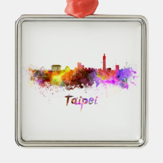 Taipei skyline in watercolor metal ornament