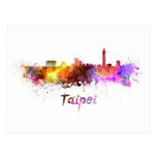 Taipei skyline in watercolor postcard