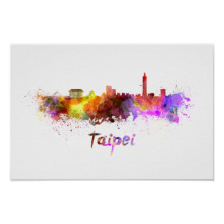 Taipei skyline in watercolor poster