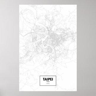 Taipei, Taiwan (black on white) Poster