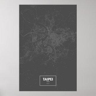 Taipei, Taiwan (white on black) Poster