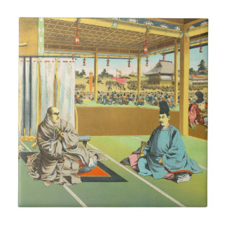 Taira ningún arte histórico del shogún japonés de  azulejo cuadrado pequeño