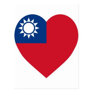 Taiwan China Flag Heart Postcard