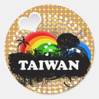 Taiwán con sabor a fruta lindo pegatinas redondas
