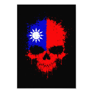 Taiwan Dripping Splatter Skull 3.5x5 Paper Invitation Card