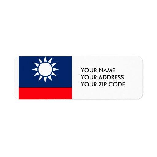 Taiwán Etiqueta De Remite