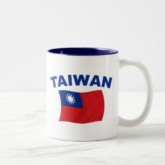 Taiwan Flag 2 Two-Tone Coffee Mug