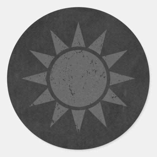 "Taiwan Flag ""Gray Vintage"" Round Sticker"