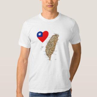 Taiwan Flag Heart and Map T-Shirt