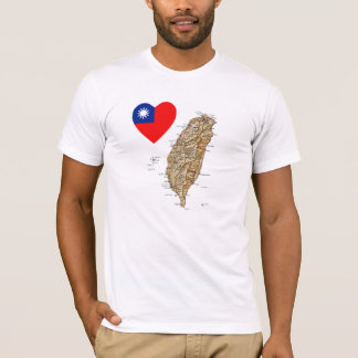 Taiwan Flag Heart and Map T-Shirt