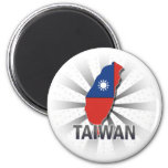 Taiwan Flag Map 2.0 2 Inch Round Magnet