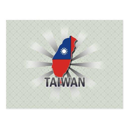 Taiwan Flag Map 2.0 Postcard